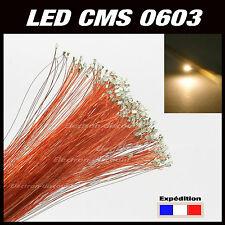 C115BC# LED CMS pré-câblé 0603 blanc chaud fil émaillé 5 à 20pcs