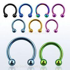 """2pcs 16G~1/4"""", 5/16"""", 3/8"""" Titanium Anodized Circulars Earings Lip Septum Tragus"""