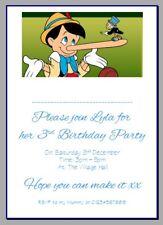 personalised paper card party invites invitations DISNEY PINOCCHIO