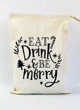 Christmas Gift Bag Santa Sack | Eat, Drink and be Merry | Personalised