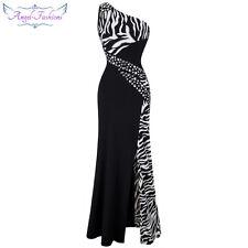 Angel-fashions Damen Eine Schulter Zebra Edelsteine Stitching Abendkleid 072