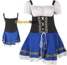 Fancy Costume Oktoberfest Beer Waitress Wench Dress Blue White Busty DTS00621