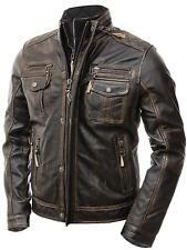 Mens Biker Cafe Racer Motorcycle Vintage Distressed Real Leather Jacket - BNWT