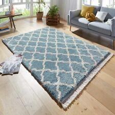 DISEÑO alfombra de Pelo Largo Perla Azul con flecos
