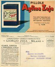 G.ZOJA - MI : LAB.CHIM. FARMACEUTICO - 1932 *  PILLOLE AGLINA ZOJA *