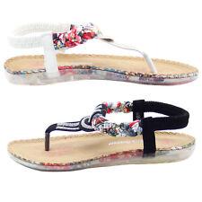 Ladies Back Strap Toe Post Sandals Diamante Soft Mules Women Casual Shoes