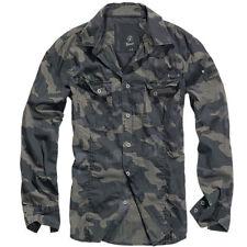 Brandit 4005 Herren Langarm Hemd Slim Fit Shirt Poloshirt Freizeithemd Dark Camo