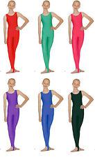 Sleeveless Dance Catsuit Nylon/Lycra Green, Pink, Purple, Blue. Child's & Adults