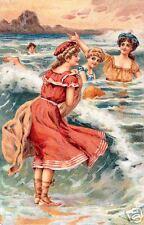 At The Beach Print, Women In Red Swimware Vintage Print