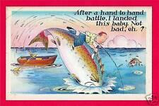 Whopper Big Fish Humor Old Comic Linen Post Card #83