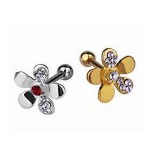 1,2mm Blume Gold oder Silber Ohr Helix Piercing Schmuck mit vielen Kristallen