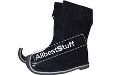Medieval Leather Boots Rough Black shoes, Re-enactment Shoe Pirate Black