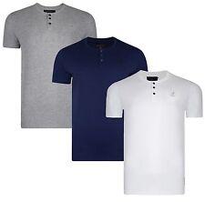 Kangol New Men's Henley Plain Slim Fit T-Shirt Grandad Crew Top S M L XL