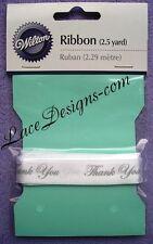 Wilton White Thank You Ribbon Silver Imprint Wedding Favors