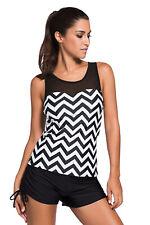 Black White Zig Zag 2pcs Tankini Cover-Up Beach Wear Size S M L XL XXL XXXL