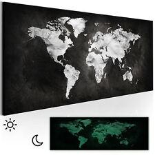 Vlies LEINWAND BILDER Weltkarte schwarz weiß WANDBILDER XXL Bild 3D Nachleuchte