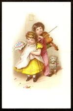 Stock VTC ~ Boy VIOLIN Fiddle Player DOG Little Girl ~ Victorian Trade Card