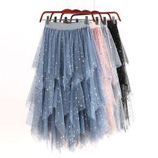 Women Skirt Dress Puffy Swan Tutu Tulle Asymmetric Sequin Ballet Punk Goth Broom