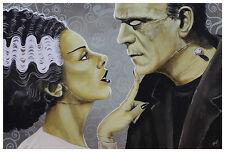 Flirtationship Frankenstein & Frankenbride Fine Art Print Lithograph Mike Bell