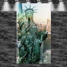 XXL New York mit Statue 90cmx160cm auf Leinwand Keilrahmen Loft Bild Pop Art Sta