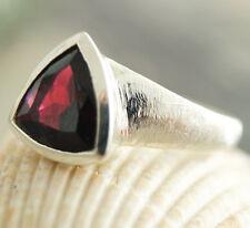 Handarbeit Ring Silber Granat Rot Massiv Matt Stein 52 54 55 Silberring Schlicht