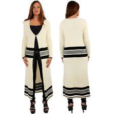 Women Long Maxi Striped Cardigan Outwear Knit Sweater Jumper Loose Coat Jacket