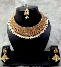 Indian Bollywood Gold Bridal Fashion Wedding Costume Jewellery Necklace Set
