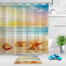 Starfish Shells Wood Board Fabric Shower Curtain & Hooks Bathroom Accessory Sets
