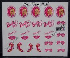 Nail Stickers Barbie Girl Pink Cartoon Decal Transfer  Nail Art DIY 3d  - UK