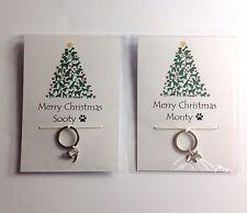 Personalised Dog Cat Christmas Gift Stocking filler Key ring Dog Tag Cat collar