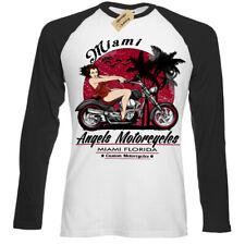 Angels Motorcycles T-Shirt pinup Biker motorcycle sexy miami Mens Baseball