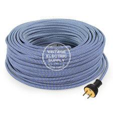 Blue White ZigZag Cordset - Cloth Covered Rewire Set - Antique Lamp & Fan Cord