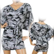 NEW Womens Batwing Shift Sheath Dress Camo Camouflage Pattern Grey Gray Black S