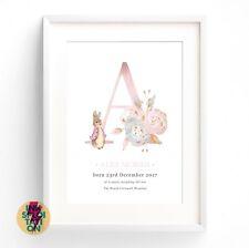 Personalised Peter Rabbit Gift Nursery Christening New Baby Beatrix Potter Print