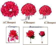 Beautiful Keepsake Wedding Flowers-Corsage Boutonniere Bouquet Hot Pink