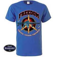 T-Shirt blu reale con un Militare motivi M-XXL Modello Libertà