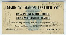 1910 Trade Card Mark Mahon Leather Co Trunks, Furniture etc.. Newark NJ