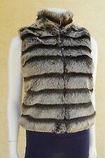 Donna Salyer's FABULOUS FURS Brown Frosted Mink Faux Fur Reversible Knit Vest