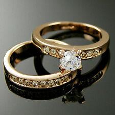 Yellow Gold gp Round lab Diamond Engagement Wedding Party Anniversary Ring Set