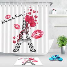 Waterproof Fabric Polyester Paris Romantic Valentine Day Shower Curtain Bath Mat