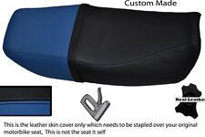 Negro Y Azul personalizado se adapta a Honda Cb 250 Nighthawk Doble Cuero Funda De Asiento
