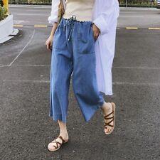 Retro Women Summer Loose Casual Denim Wide Leg Pants Flares Jean Cropped Trouser