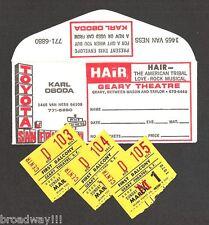"Galt MacDermot ""HAIR"" San Francisco 1970 Geary Theatre Envelope and Ticket Stubs"