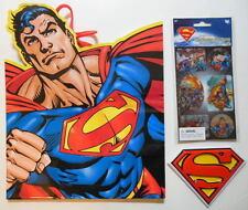 SUPERMAN GIFT BAG + LENTICULAR STICKERS + SUPERMAN LOGO CAKE TOPPER SET