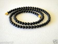 """Genuino Naturale 4mm Nero Onyx Collana Perline Rotonde 16 """" 4 mm Nero Onyx beads"""