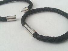 Genuine Leather Bracciale 6mm Intrecciato Bracciale in Acciaio Inox Fibbia LINEA DONNA UOMO