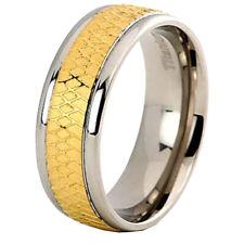 8mm Titanium Ring Wedding Band Gold-Tone Celtic Design Men's Wedding Band