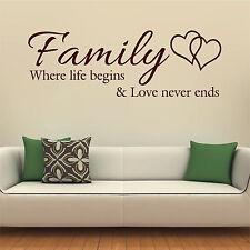 Familia donde la vida comienza Amor Pegatinas de Pared Cotización Ribba Marcos de caja de pared Calcomanías