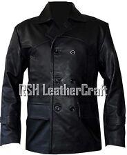 German Kriegsmarine Submariner WW2 U-boat Black Real Leather Jacket Pea Coat