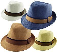 M.Headwear Co.Men's Women's Cotton Blend Straw Trilby Fedora Hat 2 Tone Band